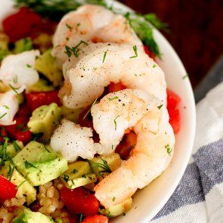 shrimp avocado brown rice bowl shrimp close up
