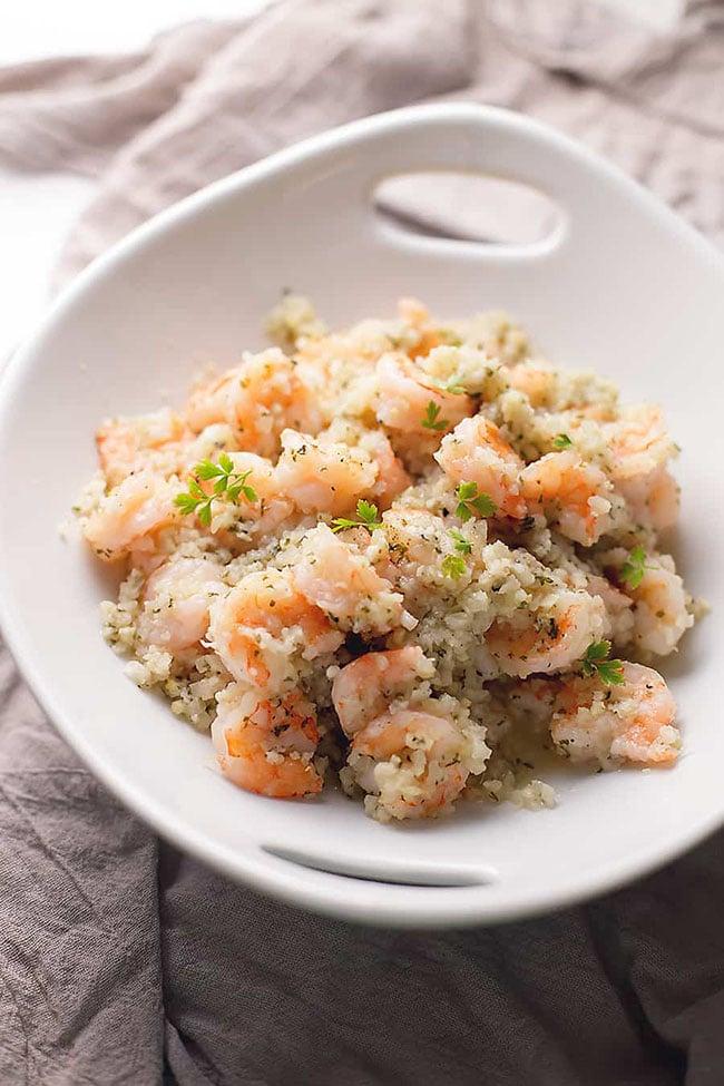 Garlic Butter Shrimp with cauliflower rice