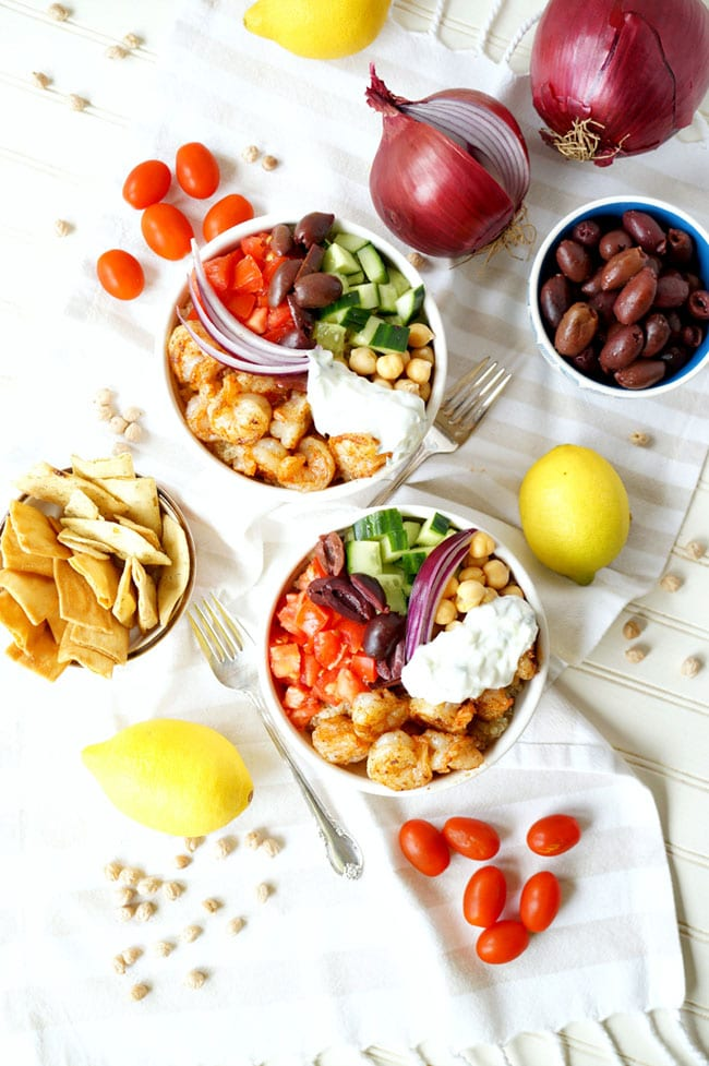 Greek shrimp quinoa bowls
