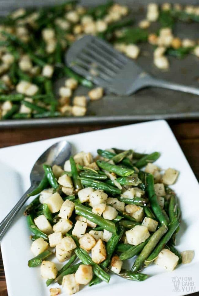 Roasted Jicama and green bean salad