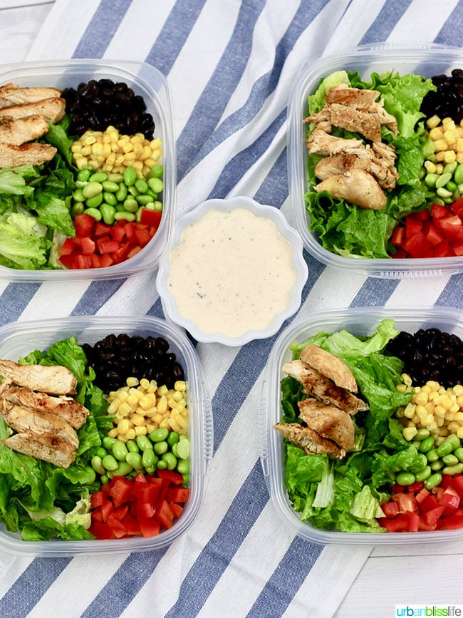 Dairy free chicken salad in meal prep containers