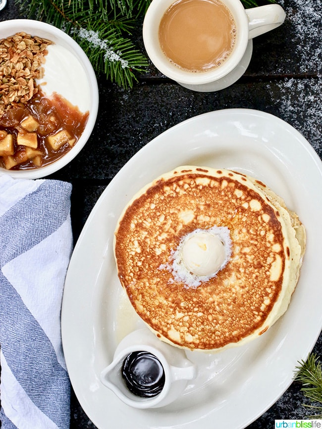 Suttle Lodge Breakfast: pancakes granola hashbrown