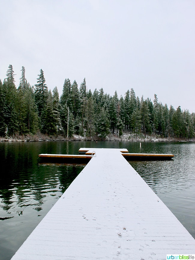 snow covered dock