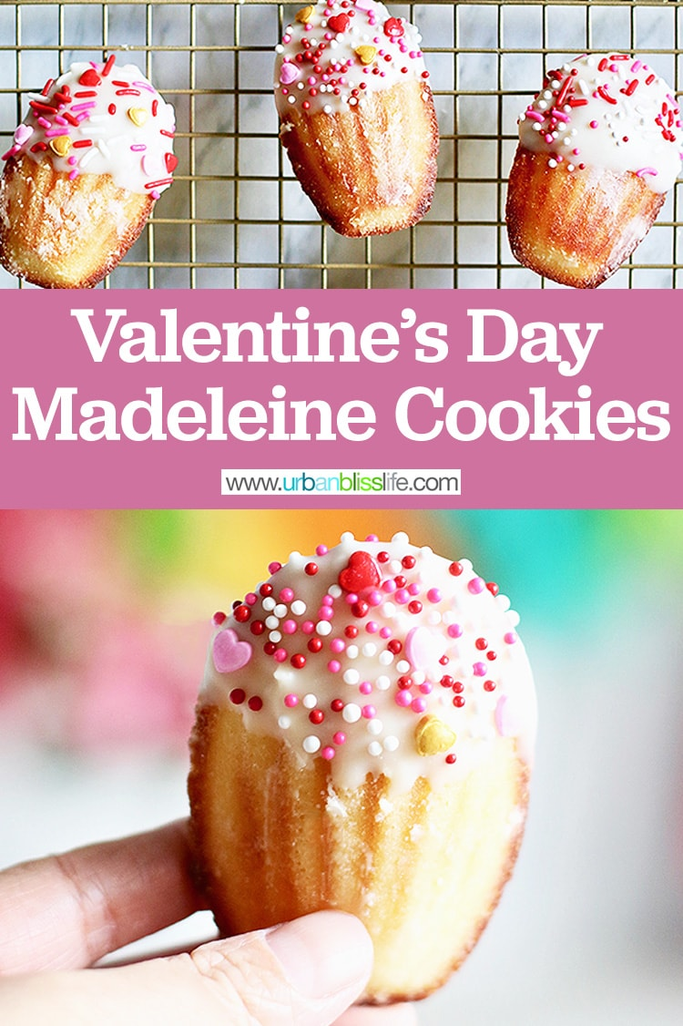 Valentine's Day madeleine cookies cakes with title text