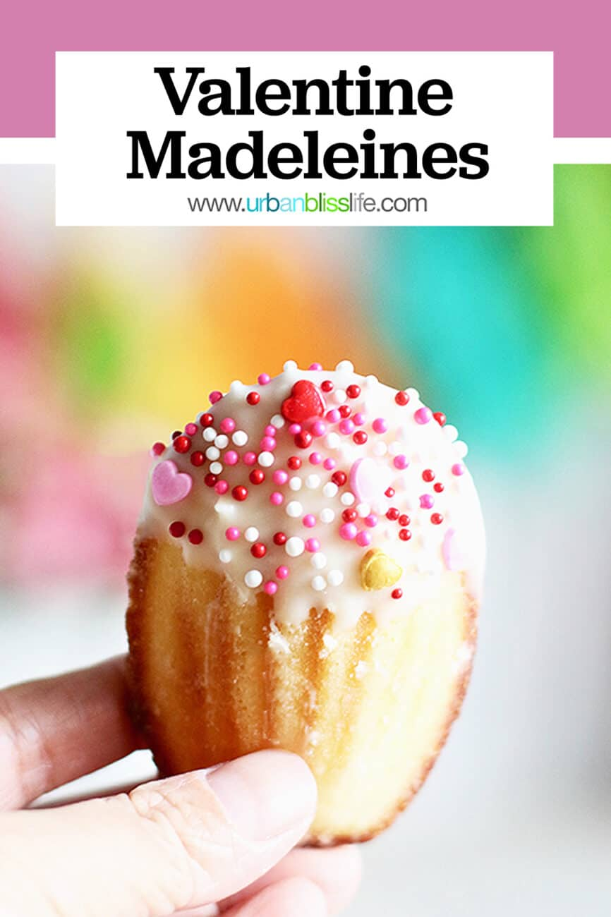 Valentine's Day madeleine cookies with title text