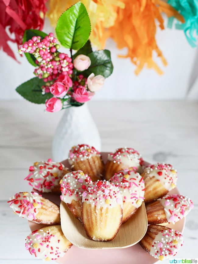 White Chocolate Dipped Valentine Madeleine Cookies