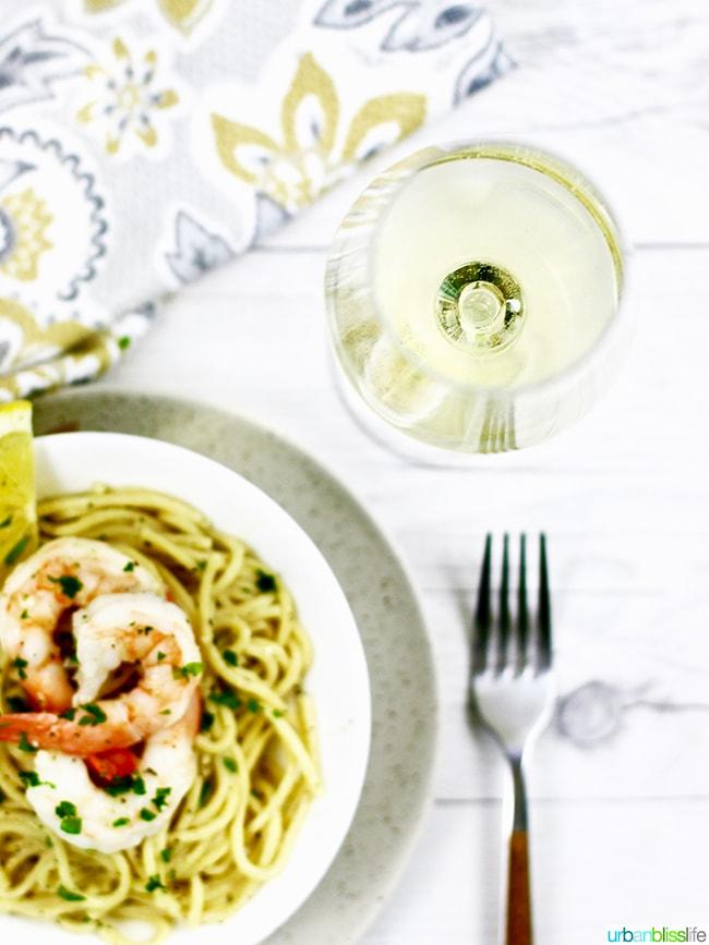 white wine with shrimp scampi