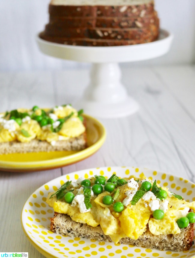 Spring Scramble Toast with peas and feta