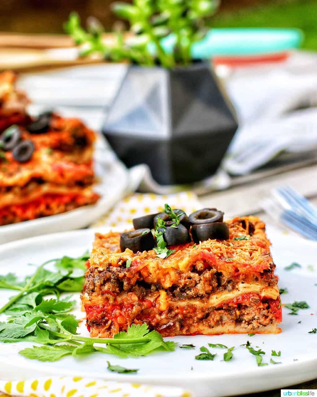 slice of Mexican lasagna