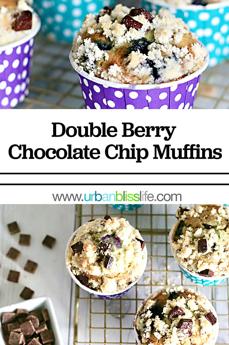 Double Berry Chocolate Chip Muffins on urbanblisslife.com