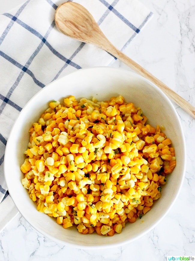 Corn side dish - Grilled or Sautéed Corn with Basil Butter