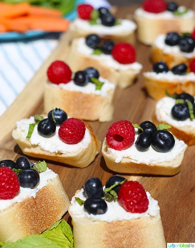 Ricotta Crostini with Summer Berries and Honey