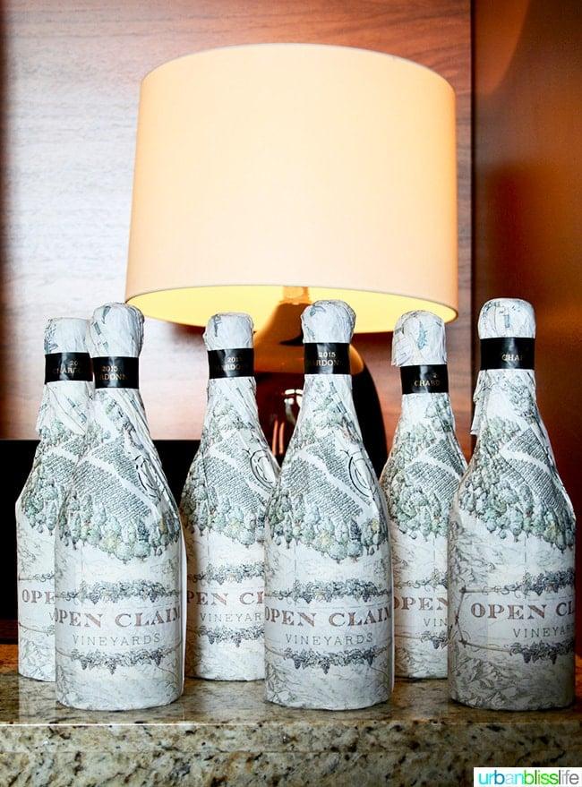 Open Claim Vineyards wrapped wine bottles