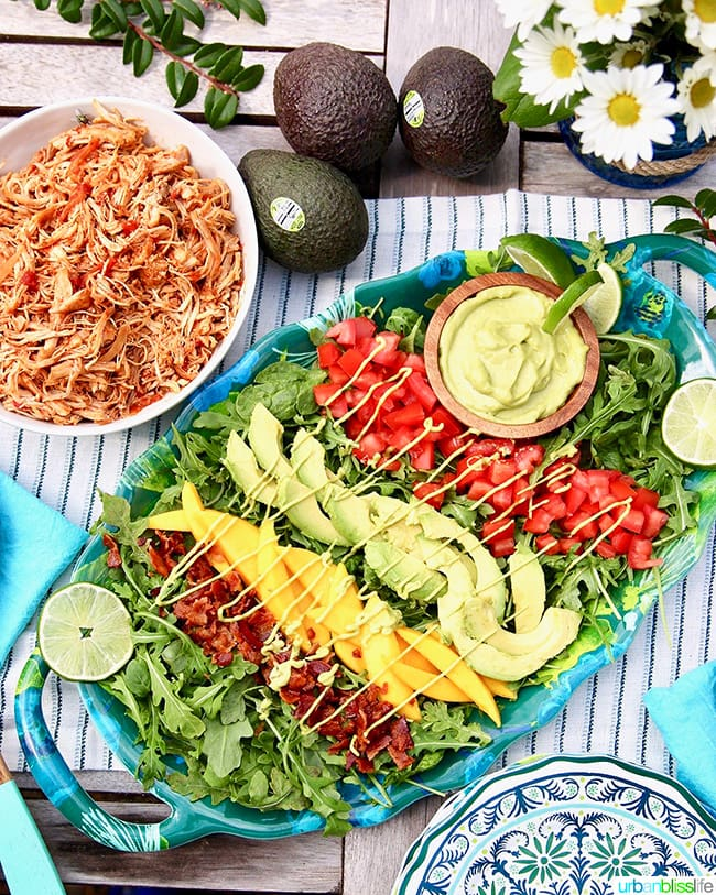Creamy Avocado Lime Dressing & Dip drizzled over mangos, tomatoes, avocados, and bacon