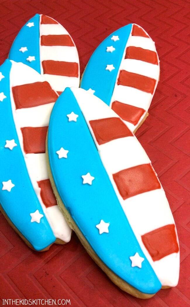 Patriotic Surfboard Cookies
