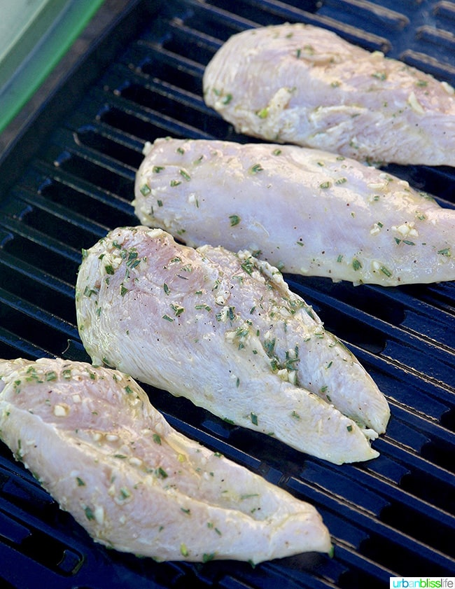 lemon herb marinaded chicken breasts on the grill
