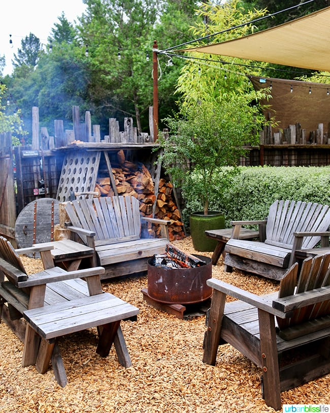 The Bewildered Pig restaurant fire pit area