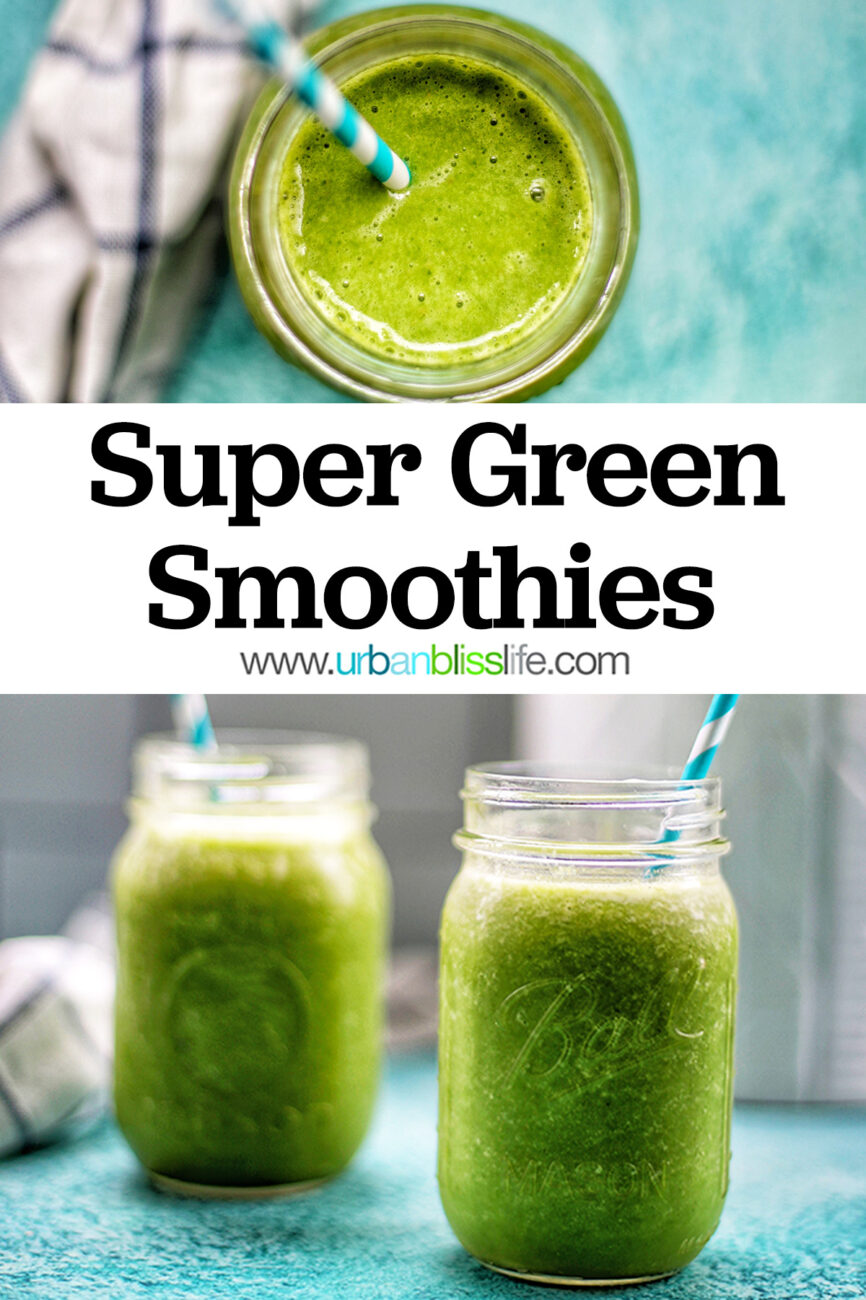 two jars of green smoothies with title text