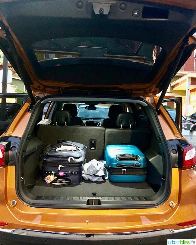 Chevy Equinox trunk space colorado road trip