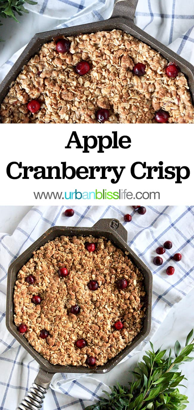 Skillet Apple Cranberry Crisp recipe on UrbanBlissLife.com