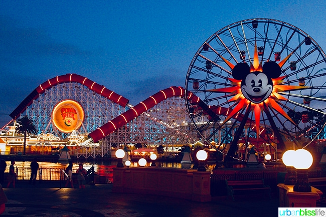 Disneyland Pixar Pier at night
