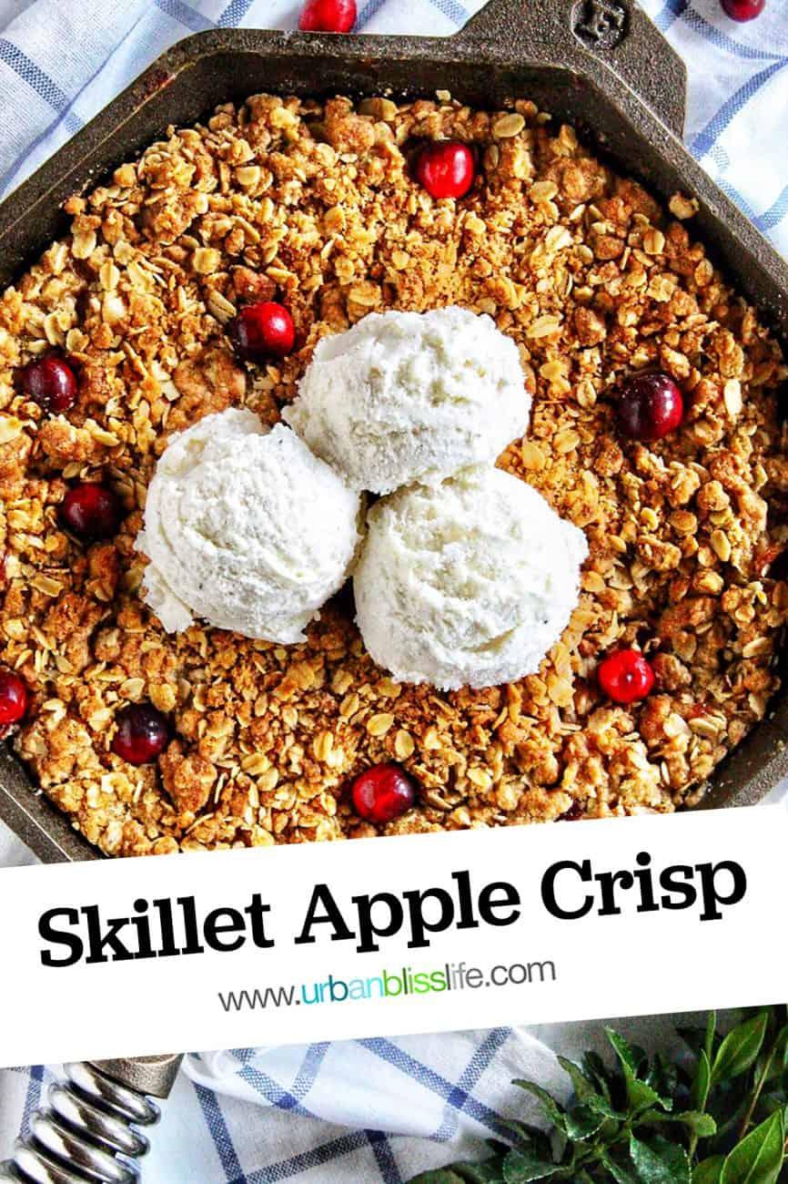skillet apple cranberry crisp with three scoops of vanilla ice cream