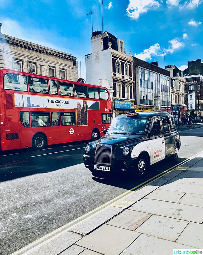 Double decker bus and taxi in London