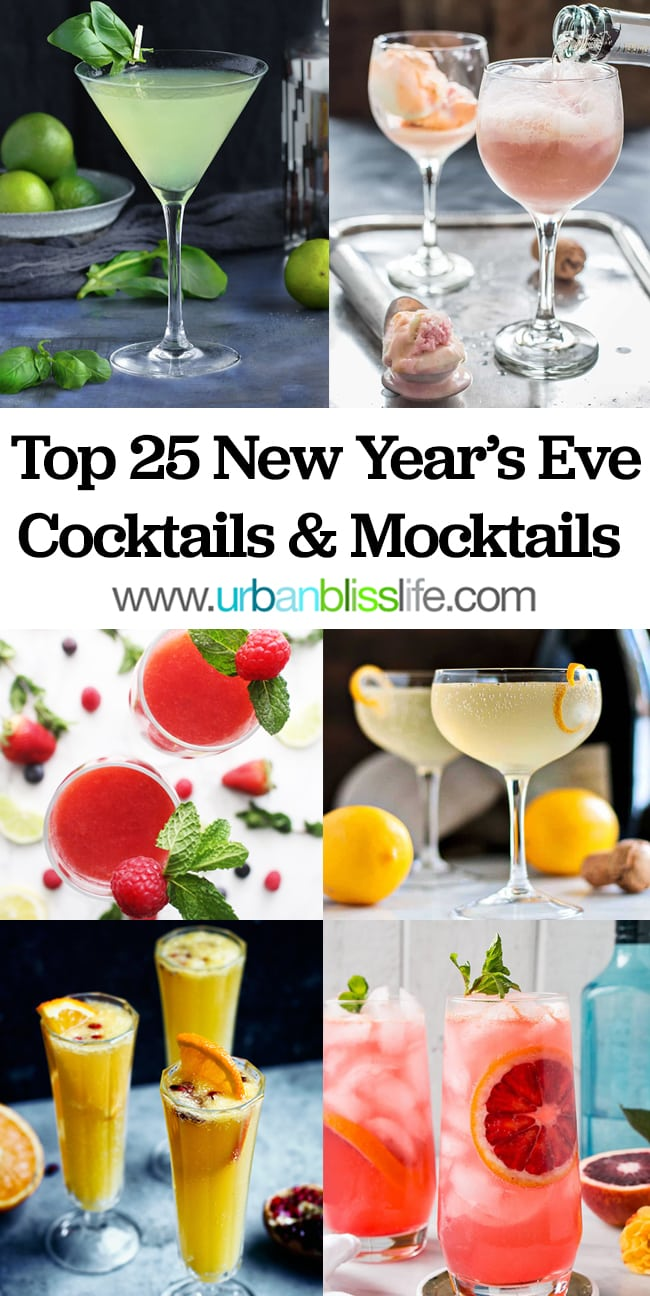 six different New Year's Cocktails with title text