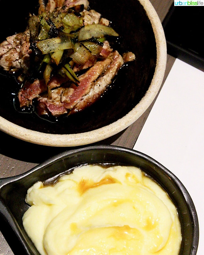 steak and mashed potatoes at Nolan restaurant Athens, Greece