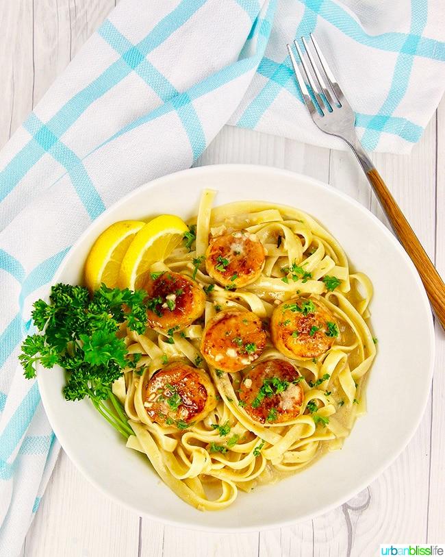 Seared scallops pasta table