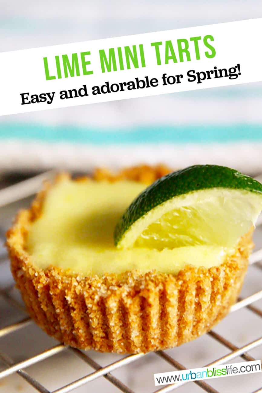 single mini lime tart with text for Pinterest