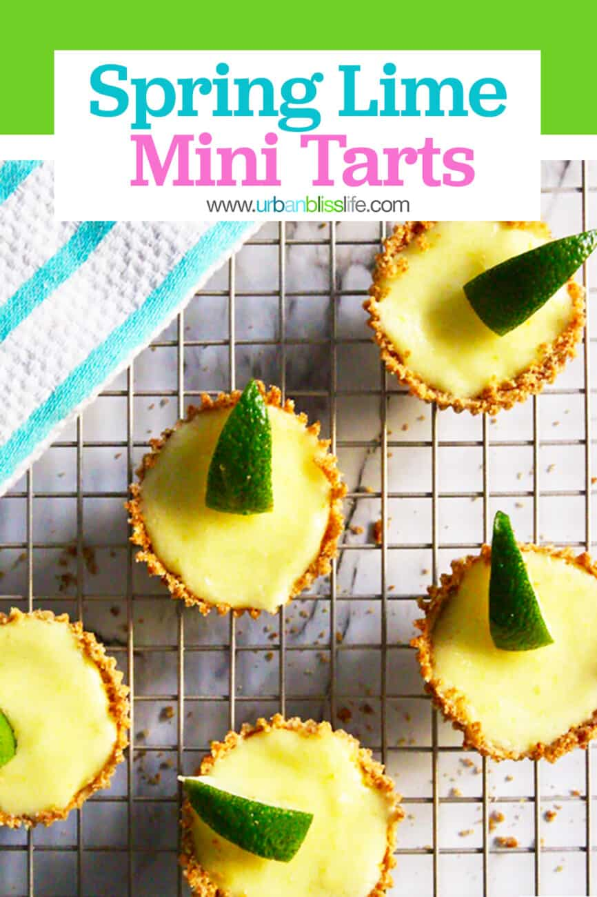 cute mini lime tarts on a cooling rack with text for Pinterest