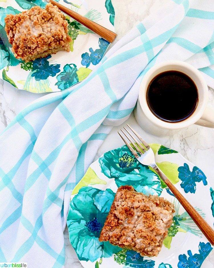 flatlay set of Banana Crumb Coffee Cake with coffee