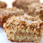 close up of single slice of Banana Crumb Coffee Cake