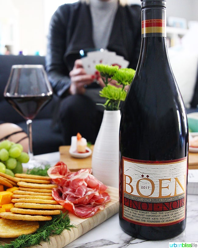 Boen Pinot Noir red wine at girls night in