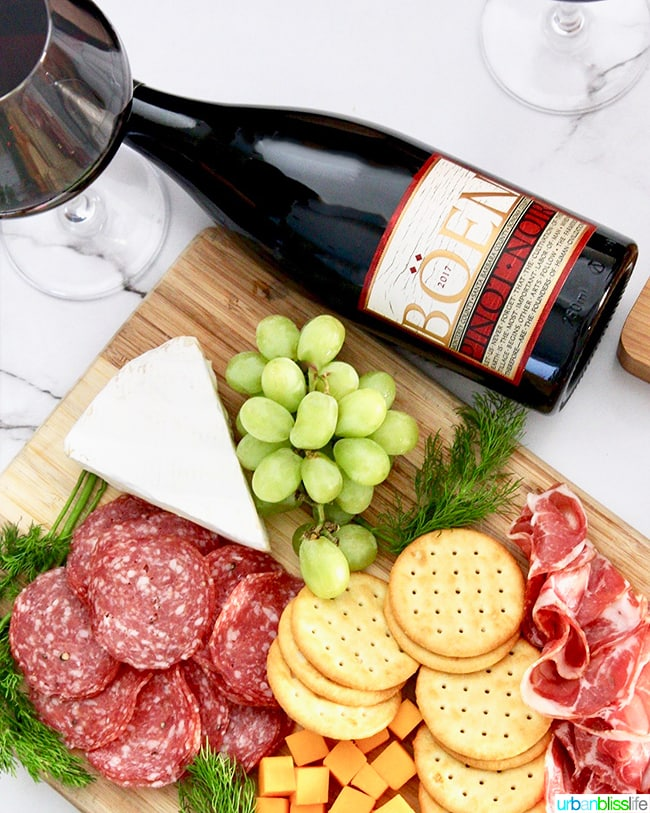 Boen pinot noir and charcuterie board