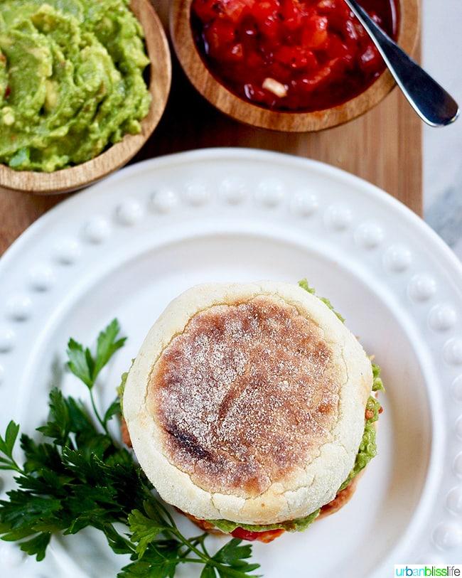 top view of Huevos Rancheros Breakfast Sandwich
