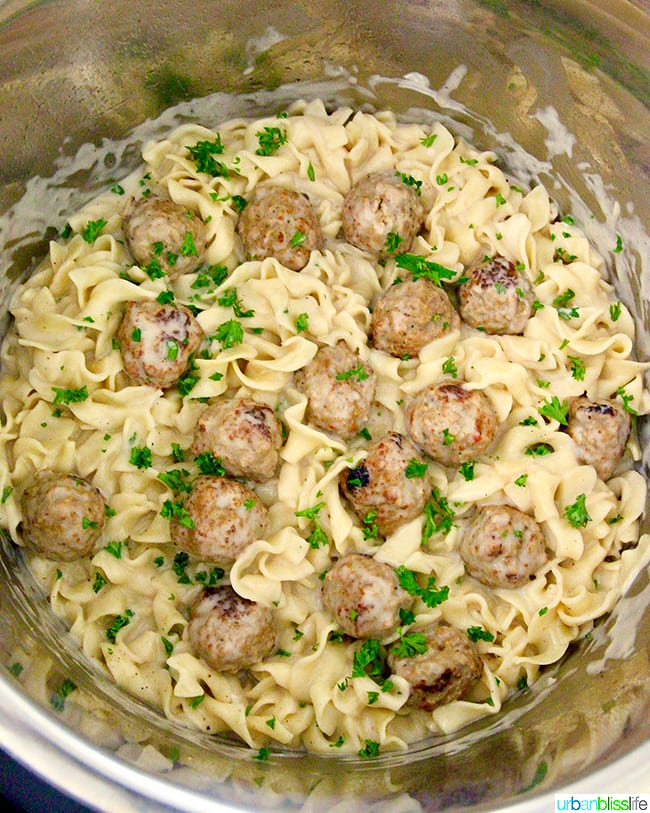 cooked ingredients for Instant Pot Swedish Meatballs in instant pot