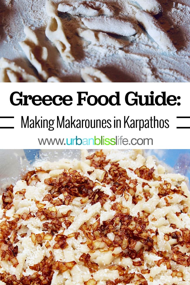 making makarounes pasta in Olympos Karpathos Greece