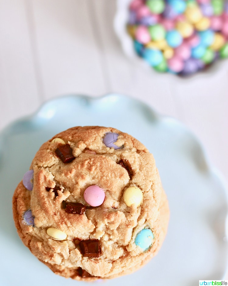 overhead of Giant Chocolate Chip M & M Cookies