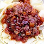 closeup of Instant Pot Short Rib Ragu