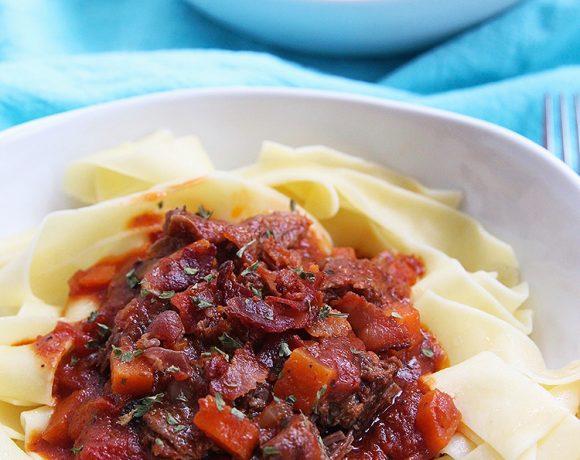 big bowls of Instant Pot Short Rib Ragu over pasta