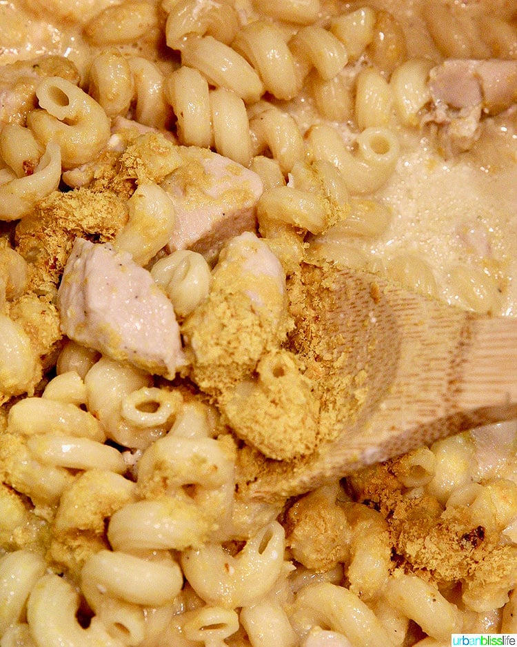 adding nutritional yeast to chicken pasta