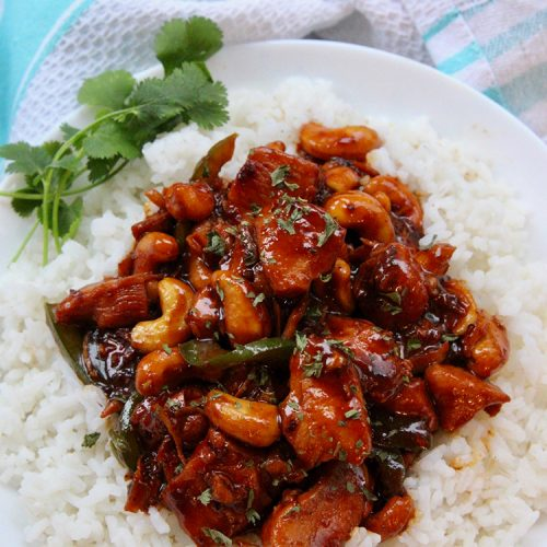 Instant Pot Cashew Chicken with rice