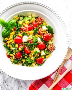 Summer Corn & Quinoa Caprese Salad with tomatoes