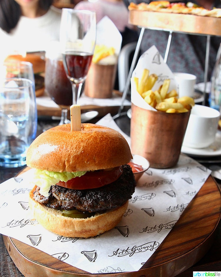 burger and fries at Guinness Storehouse