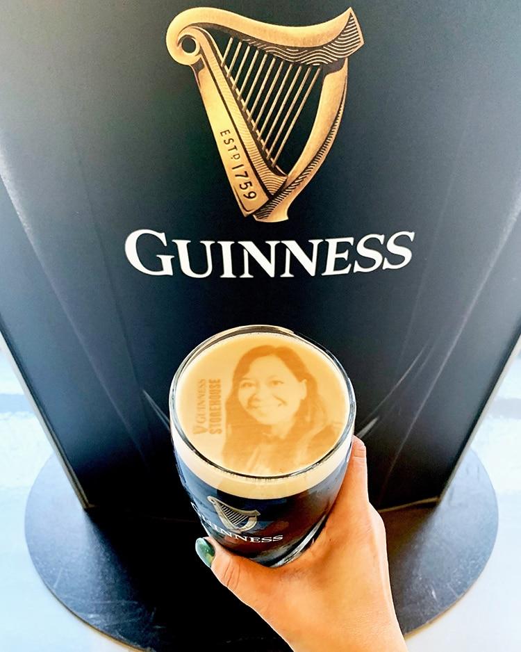 Guinness stoutie beer foam imprint of selfie