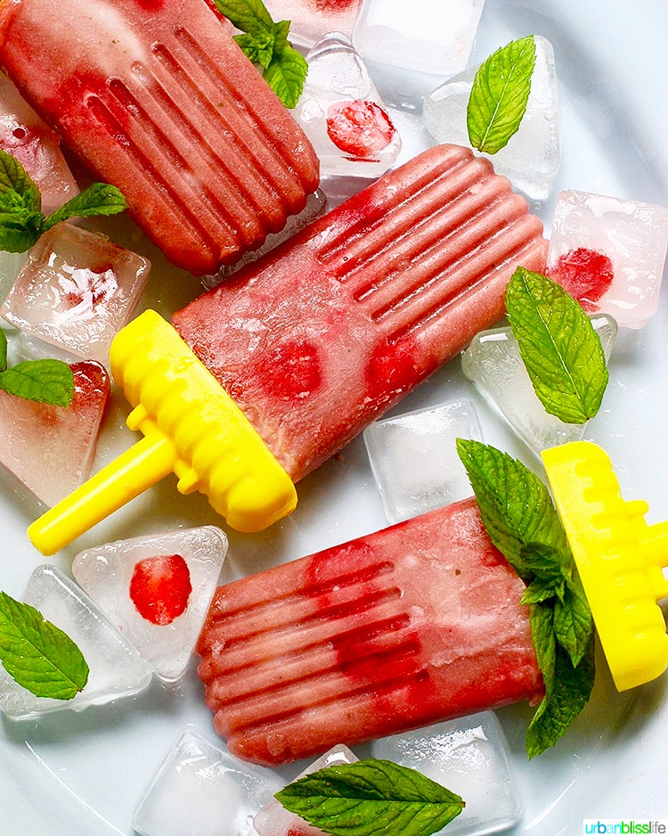 Strawberry Rhubarb Mint Popsicles
