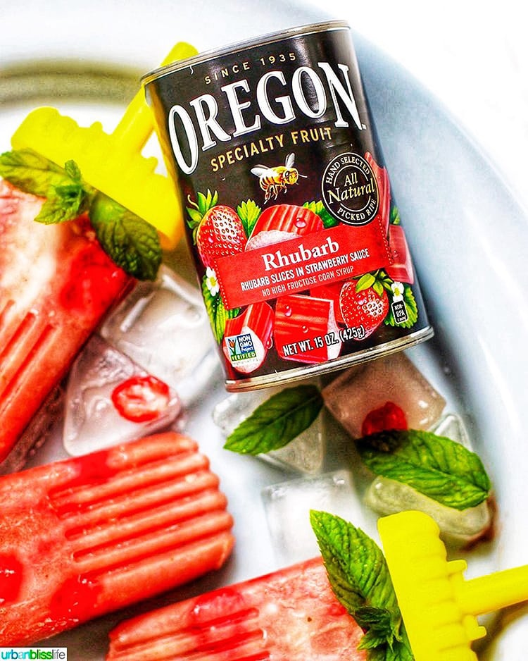 Strawberry Rhubarb Mint Popsicles & Oregon Fruit Product