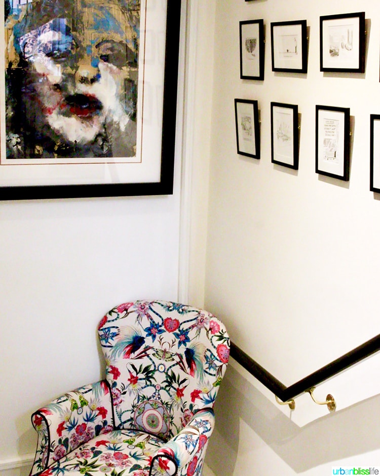 colorful chair and wall art at Wilder Townhouse